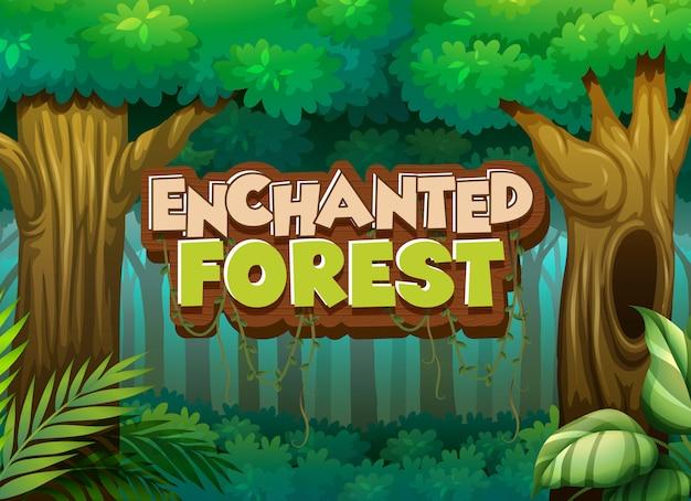 Progettazione del carattere per la foresta incantata di parola con il fondo della foresta Vettore gratuito