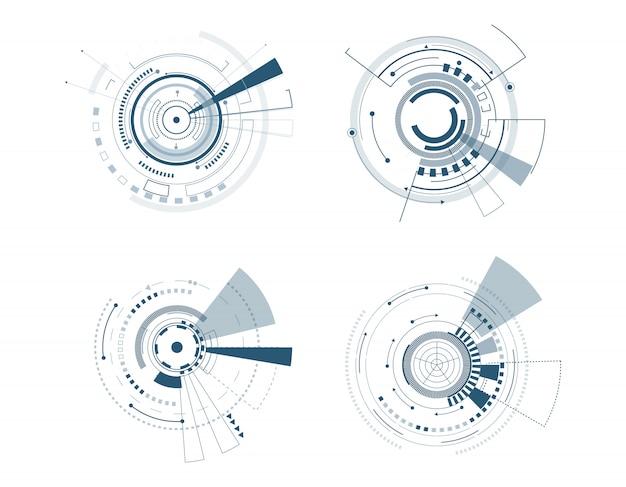 Progettazione del cerchio di tecnologia dell'insieme dell'icona di vettore Vettore Premium