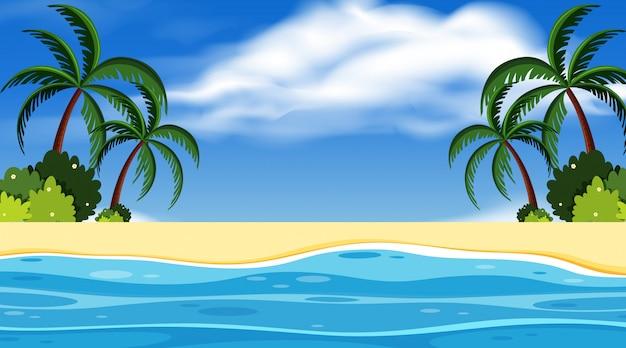 Progettazione del fondo del paesaggio con l'oceano e il cielo blu Vettore Premium