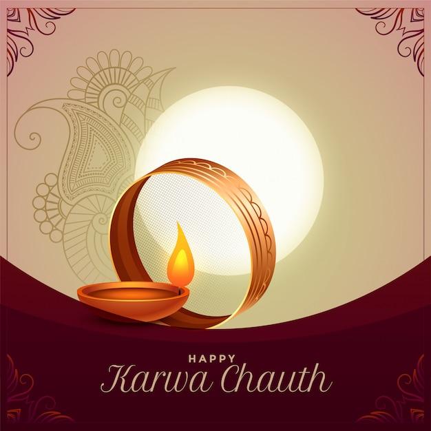 Progettazione del fondo di saluto di cerimonia di festival di karwa chauth Vettore gratuito