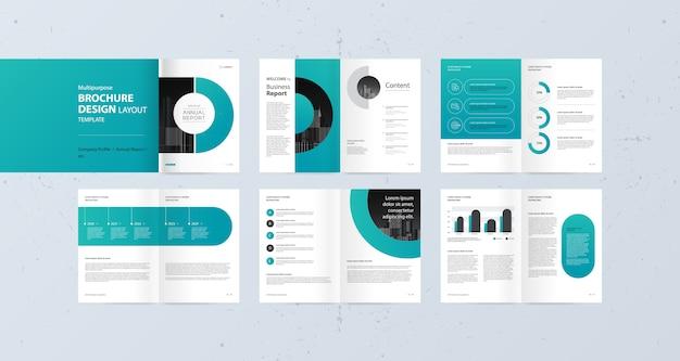 Progettazione del layout per la relazione annuale del profilo aziendale e modello di brochure Vettore Premium