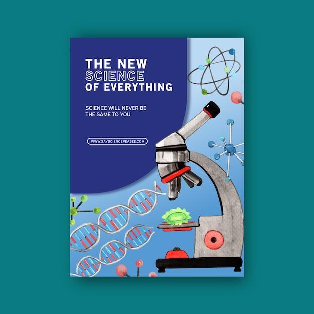 Progettazione del libro di copertina di scienza con l'illustrazione dell'acquerello del microscopio. Vettore gratuito