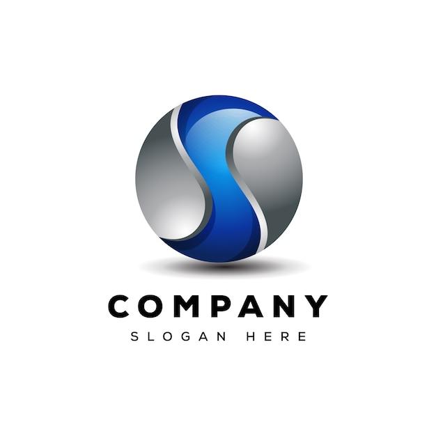 Progettazione del logo del globo 3d della lettera s pronta per l'uso Vettore Premium