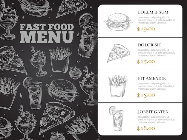 Progettazione del menu di vettore dell'opuscolo del ristorante con alimenti a rapida preparazione disegnati a mano. burger lunch e colazione, sandwi Vettore Premium