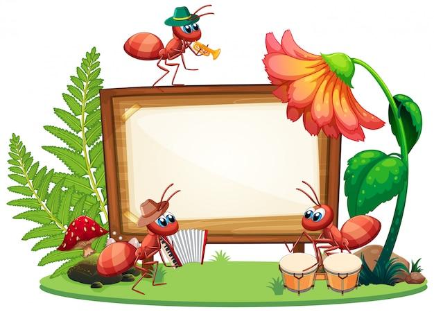 Progettazione del modello del confine con gli insetti nei precedenti del giardino Vettore gratuito