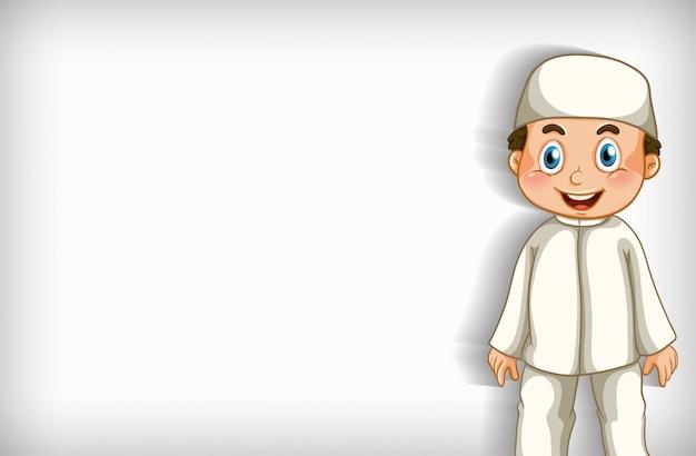 Progettazione del modello del fondo con il ragazzo musulmano felice Vettore gratuito