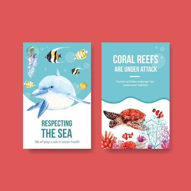 Progettazione del modello del libro elettronico per il concetto di giornata mondiale degli oceani con il vettore dell'acquerello degli animali marini, delfino, del pesce e della tartaruga Vettore gratuito