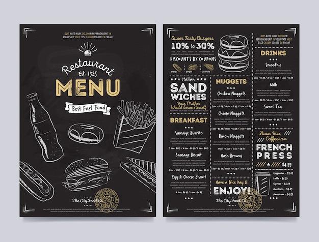 Progettazione del modello del menu del caffè del ristorante, vettore Vettore Premium