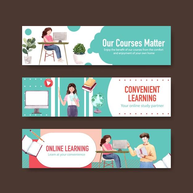 Progettazione del modello dell'insegna di apprendimento online Vettore gratuito