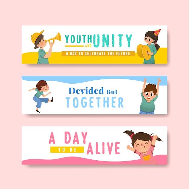 Progettazione del modello dell'insegna di giornata della gioventù per la giornata internazionale della gioventù, modello, acquerello pubblicitario Vettore gratuito