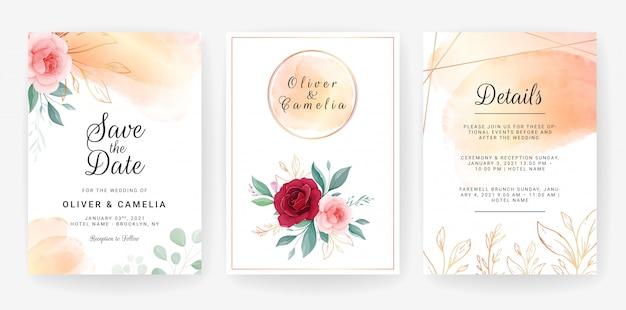 Progettazione del modello dell'invito di nozze dei fiori rosa eleganti e delle foglie di oro descritte con l'acquerello Vettore Premium