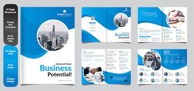 Progettazione del modello dell'opuscolo di affari corporativi di 8 pagine Vettore Premium