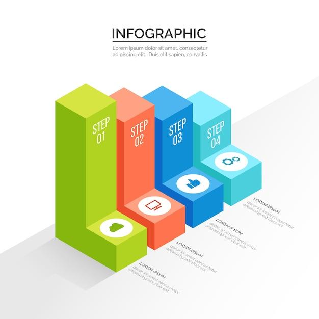 Progettazione del modello di infografica isometrica Vettore gratuito