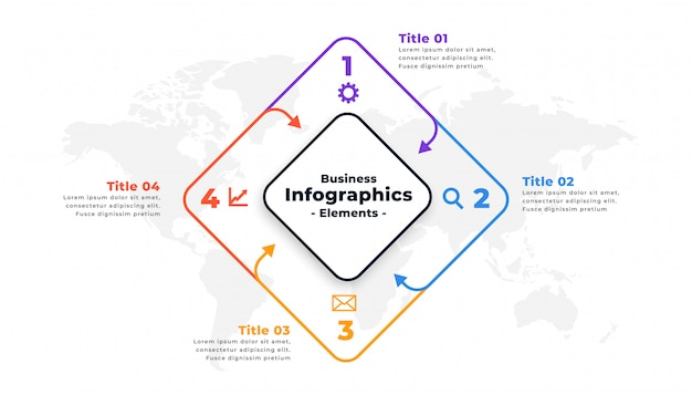 Progettazione del modello di presentazione del rapporto infographic di quattro punti Vettore gratuito