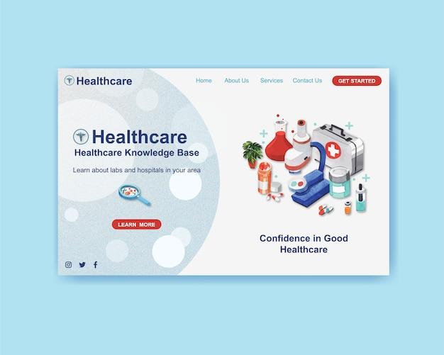 Progettazione del modello di sito web di assistenza sanitaria con attrezzature mediche Vettore gratuito
