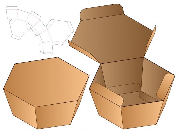 Progettazione del modello fustellato imballaggio della scatola Vettore Premium