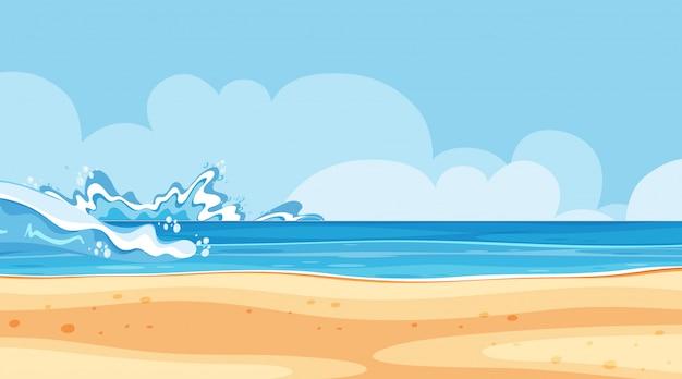 Progettazione del paesaggio del mare con grandi onde Vettore Premium