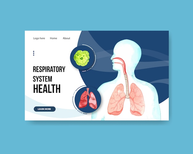 Progettazione del sistema respiratorio per modello di sito web con anatomia umana del polmone Vettore gratuito