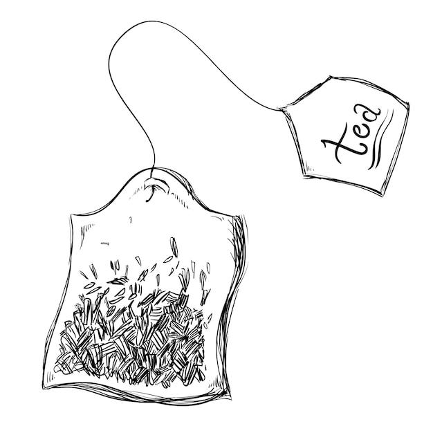 Progettazione del tè sopra l'illustrazione bianca di vettore del fondo Vettore Premium