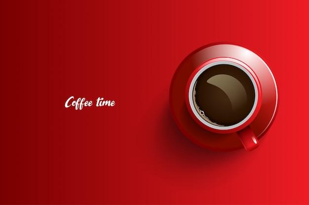 Progettazione del tempo del caffè su sfondo rosso Vettore Premium