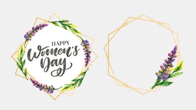 Progettazione del testo di festa della donna con i fiori Vettore Premium