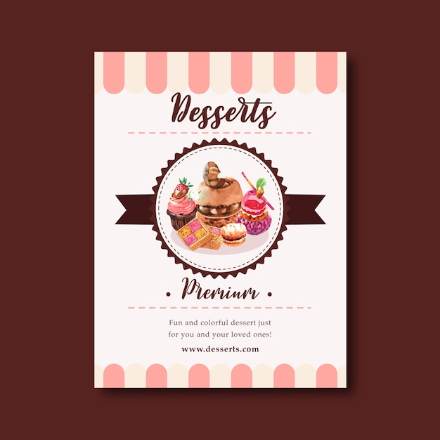 Progettazione dell'aletta di filatoio del dessert con il dolce di cioccolato, biscotto, bigné, illustrazione dell'acquerello della crema pasticcera. Vettore gratuito