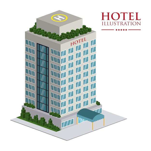 Progettazione dell'hotel sopra l'illustrazione bianca di vettore del fondo Vettore Premium