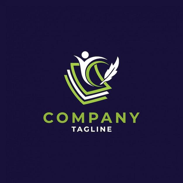 Progettazione dell'icona di logo di istruzione, illustrazione di vettore Vettore Premium