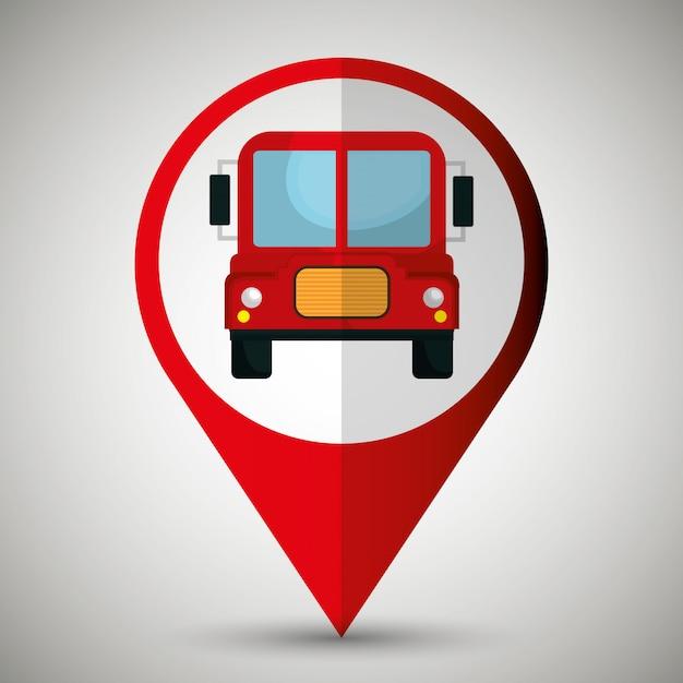 Progettazione dell'icona isolata posizione dell'autobus Vettore Premium