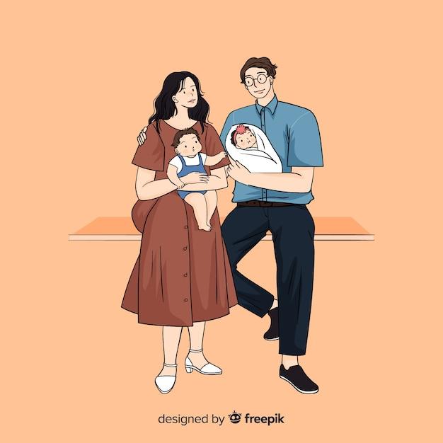 Progettazione dell'illustrazione con la famiglia nello stile coreano del disegno Vettore gratuito