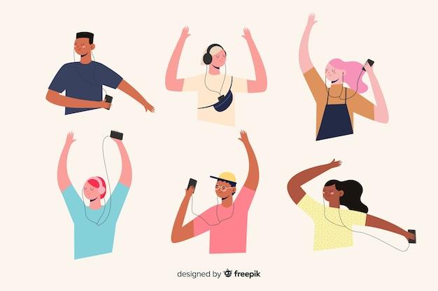 Progettazione dell'illustrazione con musica d'ascolto della gente Vettore gratuito