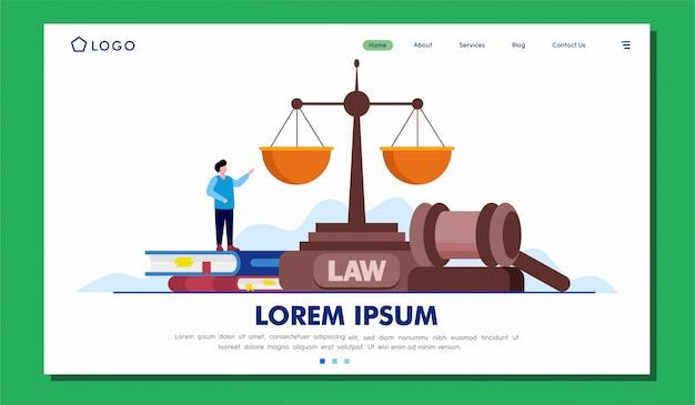 Progettazione dell'illustrazione del sito web della pagina di destinazione di servizi legali Vettore Premium