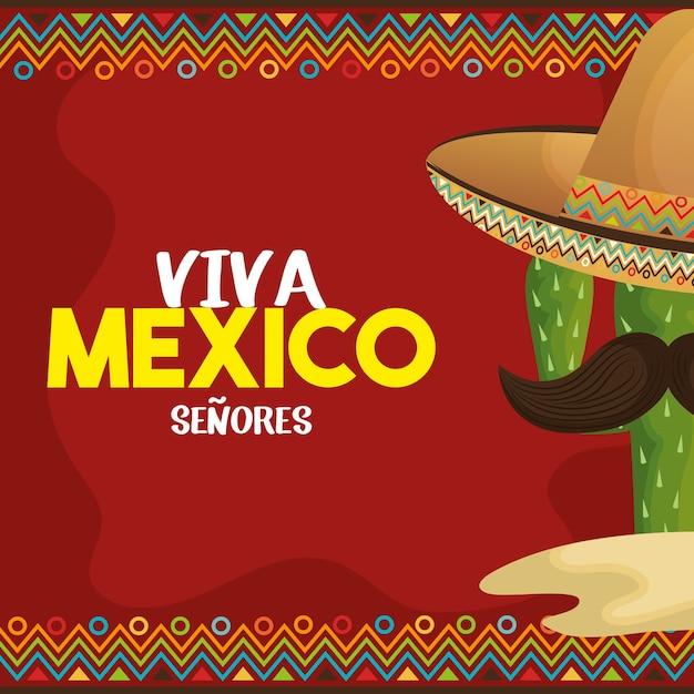 Progettazione dell'illustrazione di vettore dell'icona del manifesto di viva mexico Vettore Premium