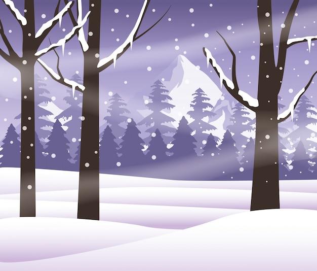 Progettazione dell'illustrazione di vettore dell'icona della natura di scena dello snowscape della foresta Vettore Premium