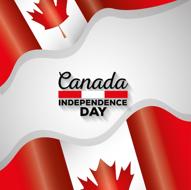 Progettazione dell'illustrazione di vettore delle bandiere del giorno dell'indipendenza del canada Vettore Premium