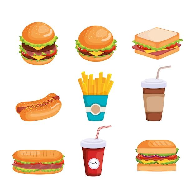 Progettazione dell'illustrazione di vettore delle icone del fast food delizioso Vettore Premium