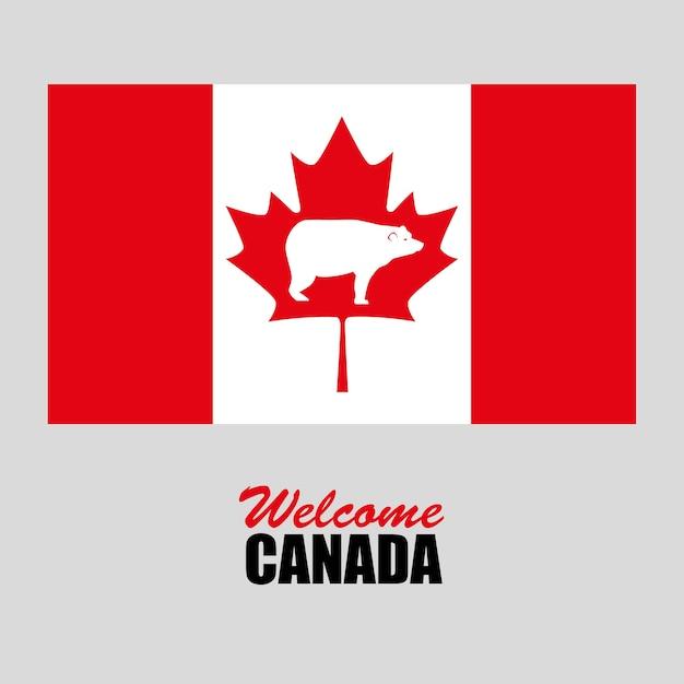 Progettazione dell'illustrazione di vettore di giorno della celebrazione della bandiera canadese Vettore Premium