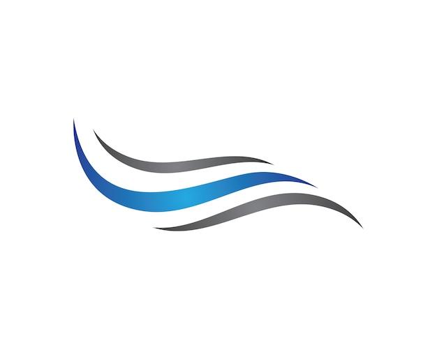 Progettazione dell'illustrazione di vettore di simbolo dell'onda Vettore Premium