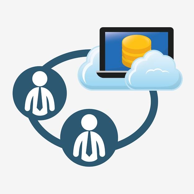 Progettazione dell'immagine dell'icona dell'hosting del database Vettore Premium