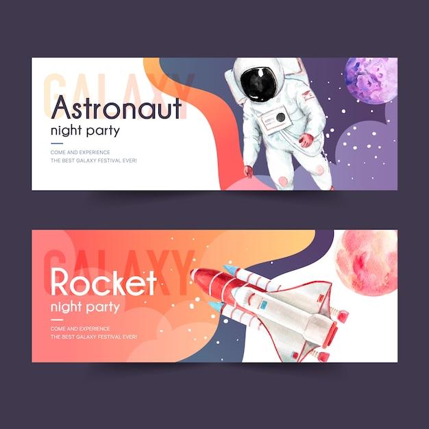 Progettazione dell'insegna della galassia con l'astronauta, razzo, illustrazione dell'acquerello del pianeta. Vettore gratuito