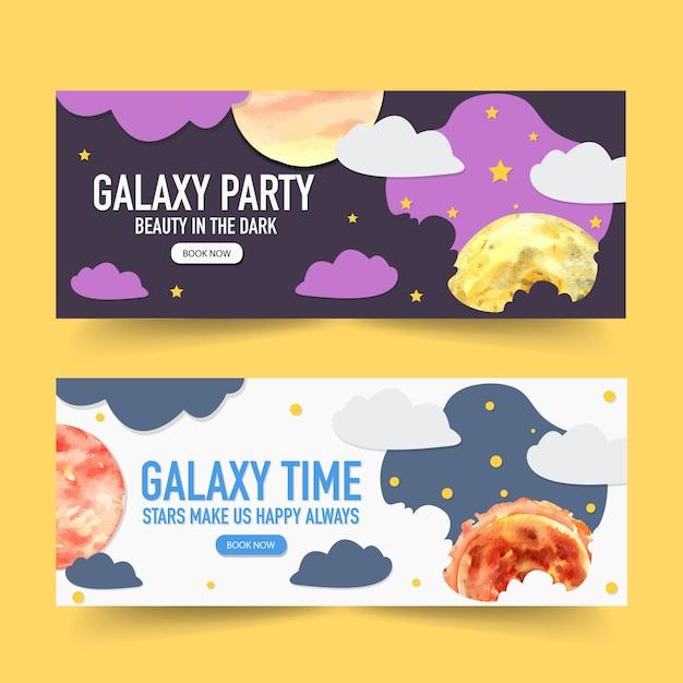 Progettazione dell'insegna della galassia con le nuvole, luna, illustrazione dell'acquerello del sole. Vettore gratuito