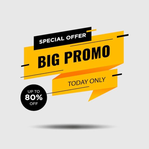 Progettazione dell'insegna di promozione isolata nel bianco. Vettore Premium
