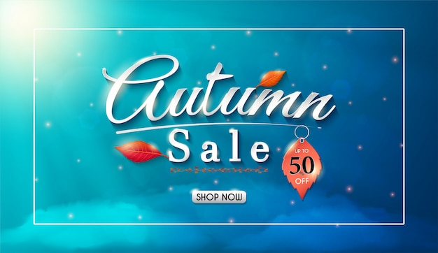 Progettazione dell'insegna di vendite di autunno con le foglie di caduta stagionali variopinte e la pubblicità di autunno di concetto. Vettore Premium