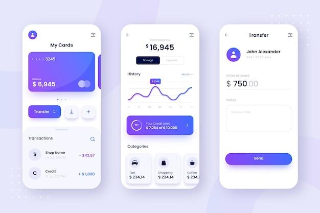 Progettazione dell'interfaccia delle schermate delle app bancarie Vettore gratuito