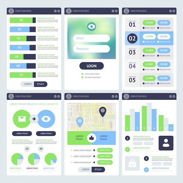 Progettazione dell'interfaccia utente mobile Vettore Premium
