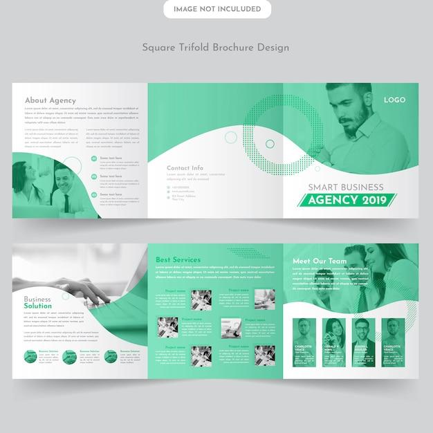 Progettazione dell'opuscolo di business square trifold Vettore Premium
