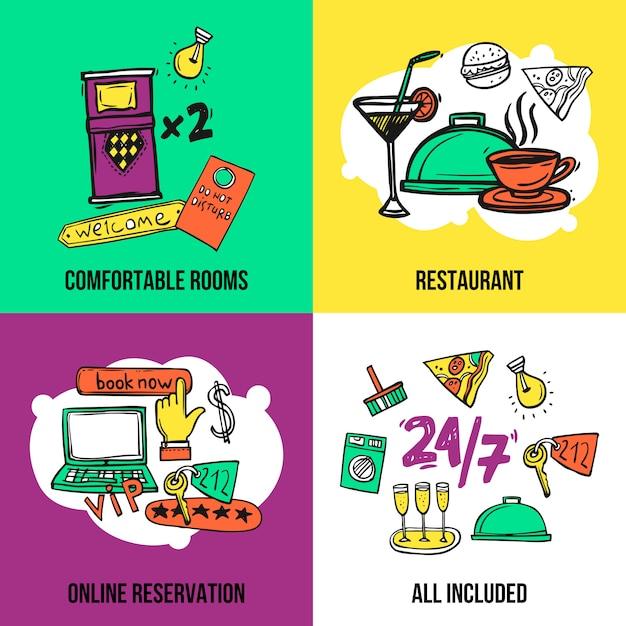 Progettazione della composizione nelle icone di concetto dell'hotel Vettore gratuito