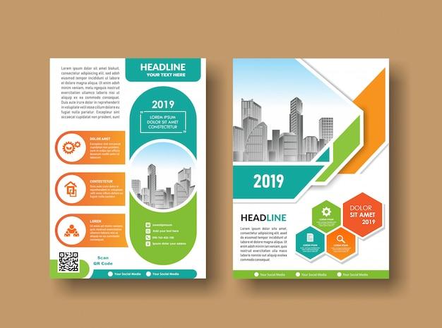 Progettazione della copertura dell'opuscolo del libro di affari del fondo della città Vettore Premium