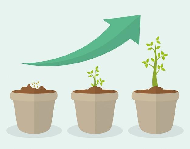 Progettazione della crescita finanziaria. Vettore Premium