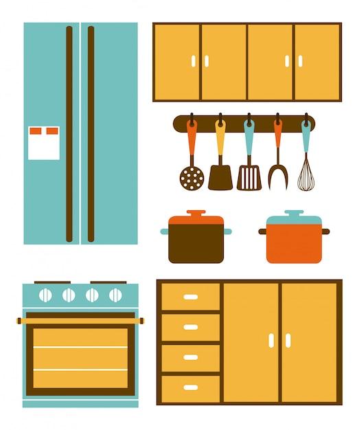 Progettazione della cucina sopra l'illustrazione bianca di vettore del fondo Vettore Premium